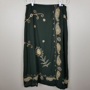 Soft Surroundings Green Beaded Maxi Skirt size PL